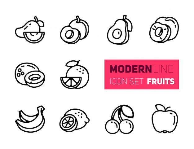Outline icons set of fruits