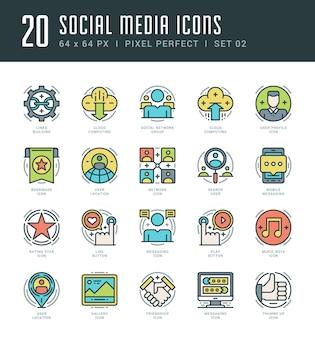 Outline icons set social media symbols