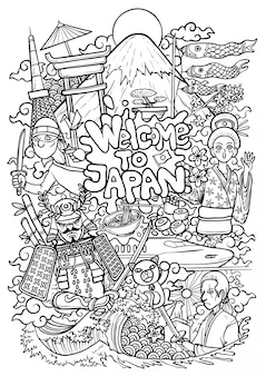 Outline illustration of japan cultures