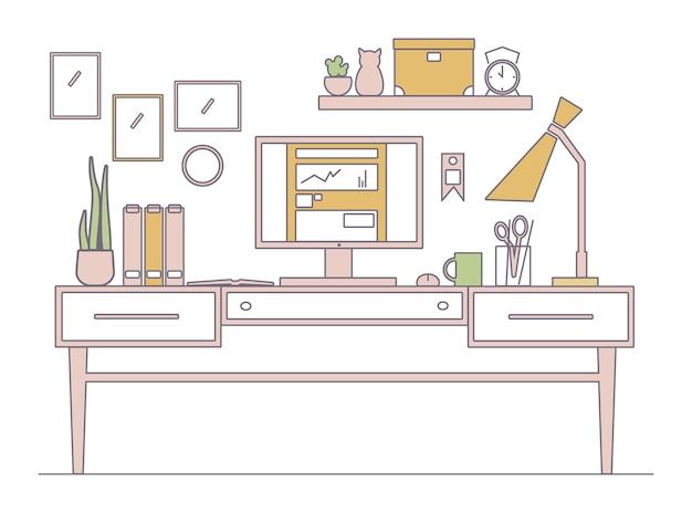 Наброски иллюстрации современного рабочего творческого пространства.