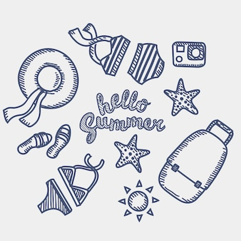Outline  illustration  set of vacation and beach elements for  hand drawn by pen