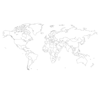 Outline illustration of world map.