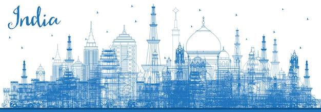 Очертите горизонт города индии с синими зданиями. дели. мумбаи, бангалор, ченнаи. векторные иллюстрации. деловые поездки и концепция туризма с исторической архитектурой. городской пейзаж индии с достопримечательностями.