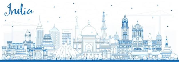 파란색 건물이 있는 인도 도시 스카이라인 개요. 델리. 뭄바이, 방갈로르, 첸나이. 벡터 일러스트 레이 션. 역사적인 건축과 비즈니스 여행 및 관광 개념입니다. 랜드마크가 있는 인도 도시 풍경.