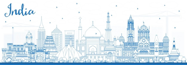 Outline india city skyline with blue buildings. delhi. mumbai, bangalore, chennai. vector illustration. business travel and tourism concept with historic architecture. india cityscape with landmarks.