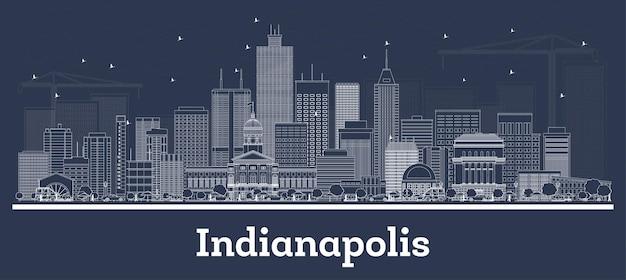 Наброски на фоне линии горизонта индианаполиса индианы с белыми зданиями. векторные иллюстрации. деловые поездки и концепция с современной архитектурой. городской пейзаж индианаполиса сша с достопримечательностями.