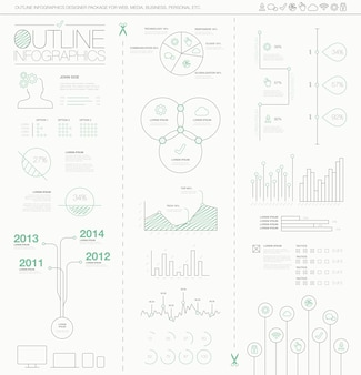Outline infographics vector illustration. artistic, creative and hand-drawn visualization.