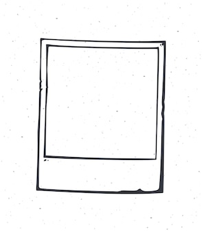 Outline of instant photo frame vector illustration empty retro photo card hand drawn ink sketch