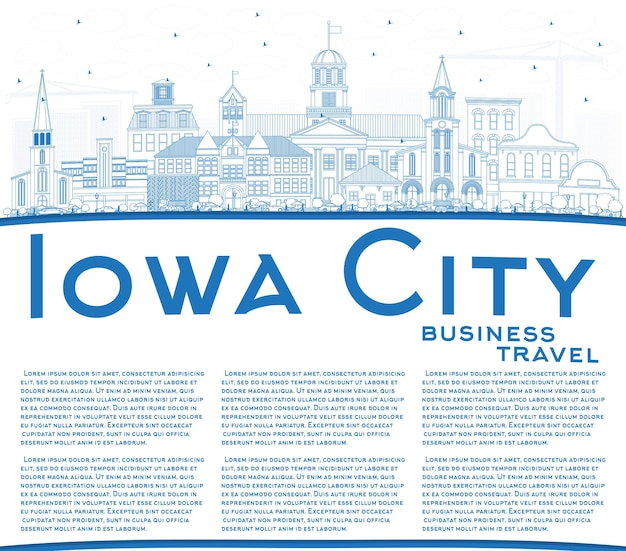 Outline iowa city skyline with blue buildings and copy space. vector illustration. business travel and tourism illustration with historic architecture.