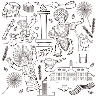 Outline isolated doodles illustration of jakarta indonesia