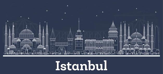 Наброски на фоне линии горизонта города стамбул, турции с белыми зданиями. векторные иллюстрации. деловые поездки и концепция туризма с исторической архитектурой. городской пейзаж стамбула с достопримечательностями.