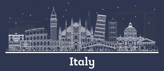 흰색 건물이 있는 이탈리아 도시의 스카이라인을 설명합니다. 벡터 일러스트 레이 션. 역사적인 건축과 비즈니스 여행 및 개념. 랜드마크와 이탈리아 풍경입니다.