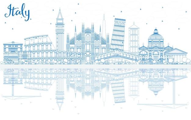 파란색 랜드마크와 반사가 있는 이탈리아 스카이라인 개요. 벡터 일러스트 레이 션. 역사적인 건축과 비즈니스 여행 및 관광 개념입니다. 프레젠테이션 배너 현수막 및 웹사이트용 이미지.