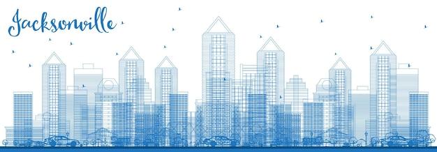 파란색 건물이 있는 잭슨빌 플로리다 미국 도시 스카이라인 개요. 벡터 일러스트 레이 션. 현대 건축과 비즈니스 여행 및 관광 개념입니다. 랜드마크가 있는 잭슨빌 도시 풍경.