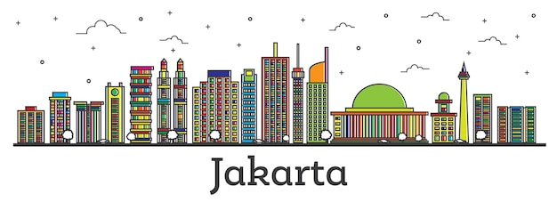 Outline jakarta indonesia city skyline with color buildings isolated on white. vector illustration. jakarta cityscape with landmarks.