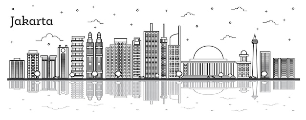 Outline jakarta indonesia city skyline with modern buildings and reflections isolated on white. vector illustration. jakarta cityscape with landmarks.