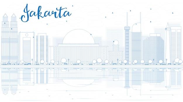 Контур джакарта горизонта с голубыми зданиями и отражениями.