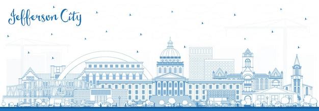 Очертите горизонт джефферсон-сити миссури с синими зданиями. векторные иллюстрации. деловые поездки и концепция туризма с исторической архитектурой. городской пейзаж джефферсона с достопримечательностями.
