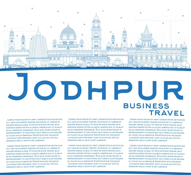 Outline jodhpur india city skyline with blue buildings and copy space. vector illustration. business travel and concept with historic architecture. jodhpur cityscape with landmarks.