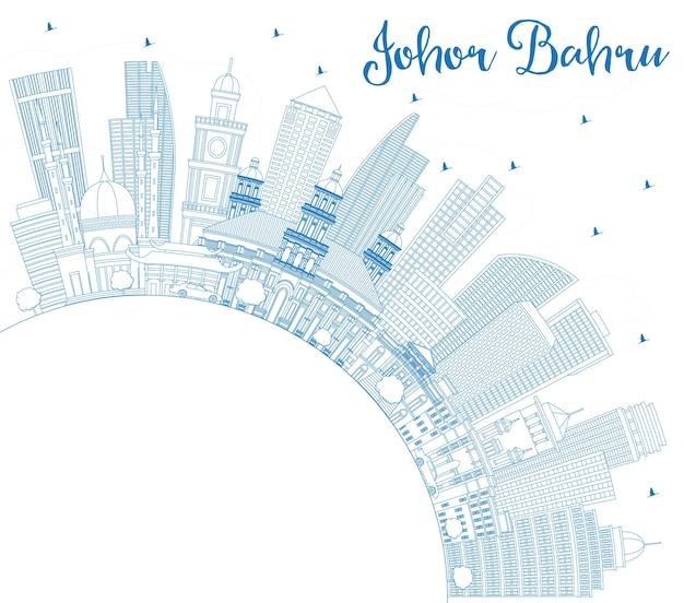 Очертите горизонт джохор-бару малайзии с синими зданиями и копией пространства. деловые поездки и туризм векторные иллюстрации с современной архитектурой. городской пейзаж джохор-бару с достопримечательностями.