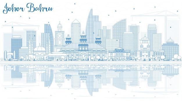 Очертите горизонт джохор-бару малайзии с синими зданиями и отражениями. деловые поездки и туризм векторные иллюстрации с современной архитектурой. изображение для презентационного баннера и веб-сайта.