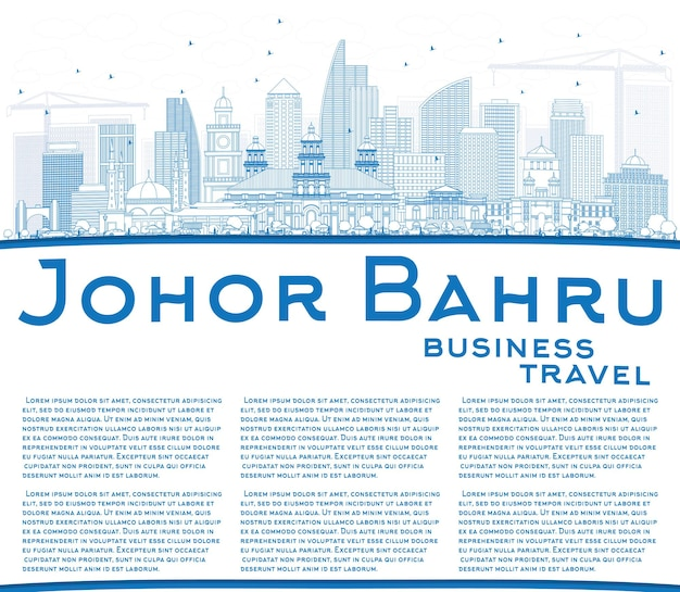 Outline johor bahru malaysia skyline with blue buildings and copy space. business travel and tourism vector illustration with modern architecture.