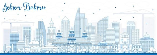 Очертите горизонт джохор-бару малайзии с синими зданиями. векторные иллюстрации. деловые поездки и концепция туризма с современной архитектурой. изображение для презентационного баннера и веб-сайта.