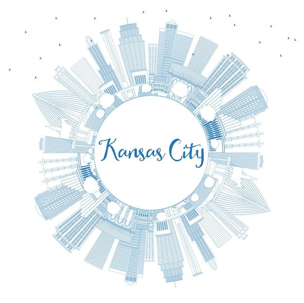 파란색 건물 및 복사 공간이 있는 캔자스시티 미주리 스카이라인 개요. 벡터 일러스트 레이 션. 현대 건축과 비즈니스 여행 및 관광 개념입니다. 랜드마크가 있는 캔자스 시티 풍경.