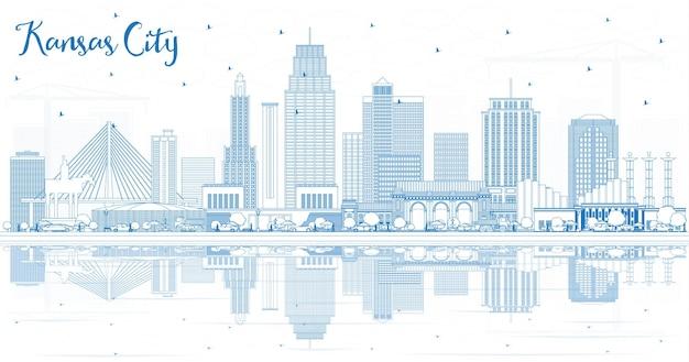 파란색 건물과 반사가 있는 캔자스시티 미주리 스카이라인 개요. 벡터 일러스트 레이 션. 현대 건축과 비즈니스 여행 및 관광 개념입니다. 랜드마크가 있는 캔자스 시티 풍경.