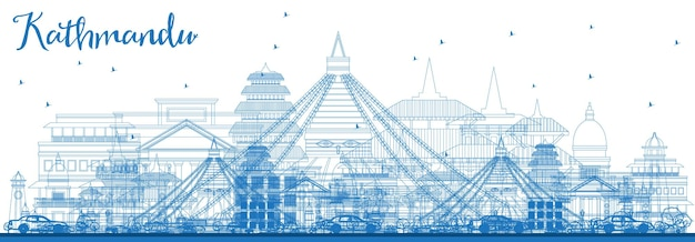 Наброски на фоне линии горизонта непала катманду с синими зданиями. векторные иллюстрации. деловые поездки и концепция туризма с исторической архитектурой. катманду городской пейзаж с достопримечательностями.