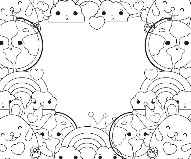 Outline kawaii characters with emotion facial expression