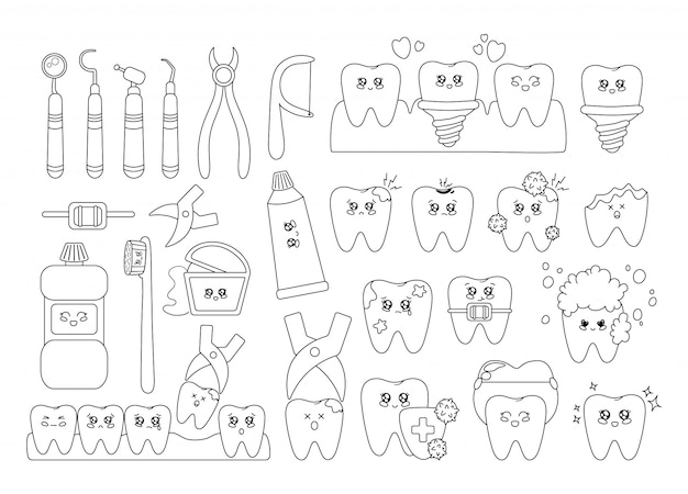 Outline kawaii teeth with emodji, dental care, dentistry