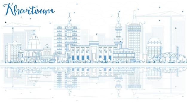 青い建物と反射でハルツームのスカイラインの概要を説明します。ベクトルイラスト。歴史的な建築とビジネス旅行と観光の概念。プレゼンテーションバナープラカードとwebサイトの画像。