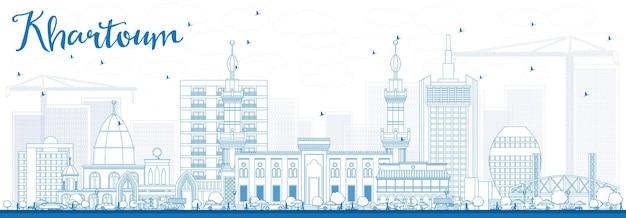 青い建物でハルツームのスカイラインの概要を説明します。ベクトルイラスト。歴史的な建築とビジネス旅行と観光の概念。プレゼンテーションバナープラカードとwebサイトの画像