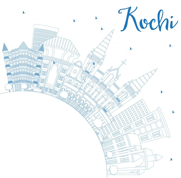 Outline kochi india city skyline with blue buildings and copy space. vector illustration. business travel and tourism concept with historic architecture. kochi cityscape with landmarks.