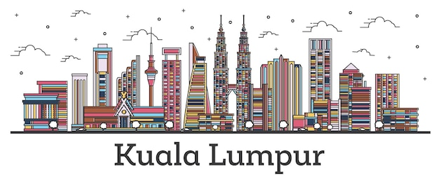 Outline kuala lumpur malaysia city skyline with color buildings isolated on white. vector illustration. kuala lumpur cityscape with landmarks.
