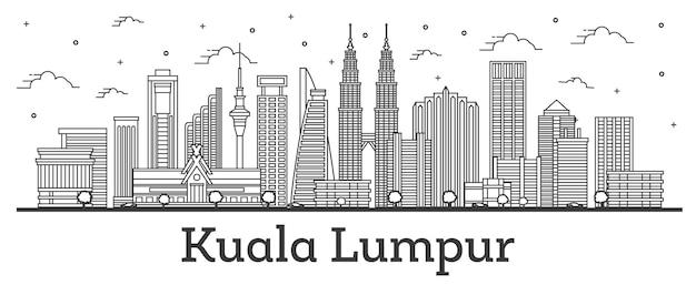 Наброски на фоне линии горизонта города куала-лумпур малайзии с современными зданиями, изолированными на белом. векторные иллюстрации. городской пейзаж куала-лумпура с достопримечательностями.