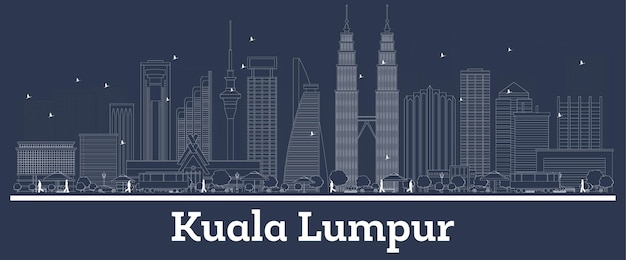 Outline kuala lumpur malaysia city skyline with white buildings. vector illustration. business travel and concept with modern architecture. kuala lumpur cityscape with landmarks.