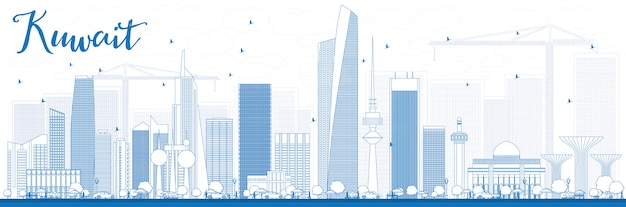 Outline kuwait city skyline with blue buildings.