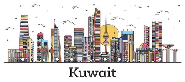 Наброски на фоне линии горизонта города кувейта с цветными зданиями, изолированными на белом. векторные иллюстрации. городской пейзаж кувейта с достопримечательностями.