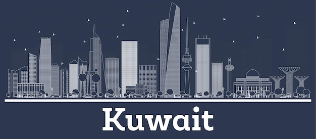 Очертите горизонт города кувейта с белыми зданиями. векторные иллюстрации. деловые поездки и концепция с современной архитектурой. городской пейзаж кувейта с достопримечательностями.