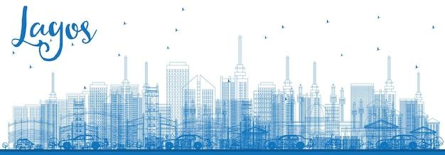 青い建物でラゴスのスカイラインの概要を説明します。ベクトルイラスト。近代的な建物とビジネス旅行と観光の概念。プレゼンテーションバナープラカードとwebサイトの画像。
