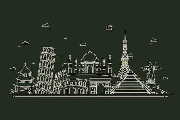 Outline landmarks skyline in black and white