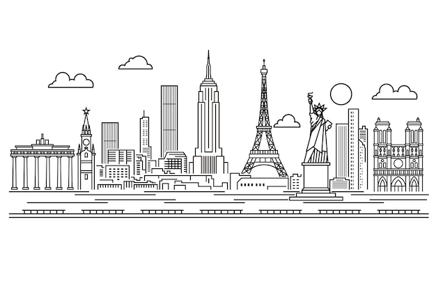 Outline landmarks skyline black and white