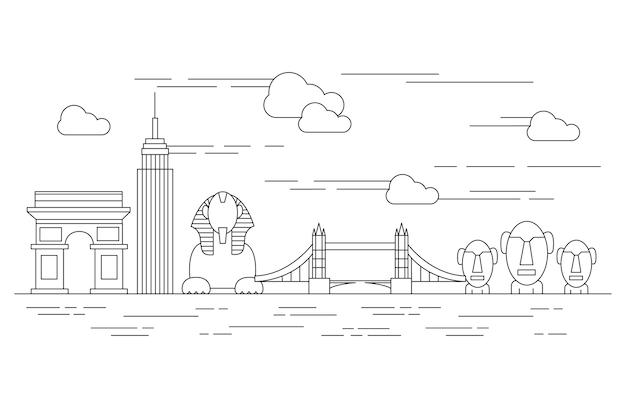 Outline landmarks skyline concept