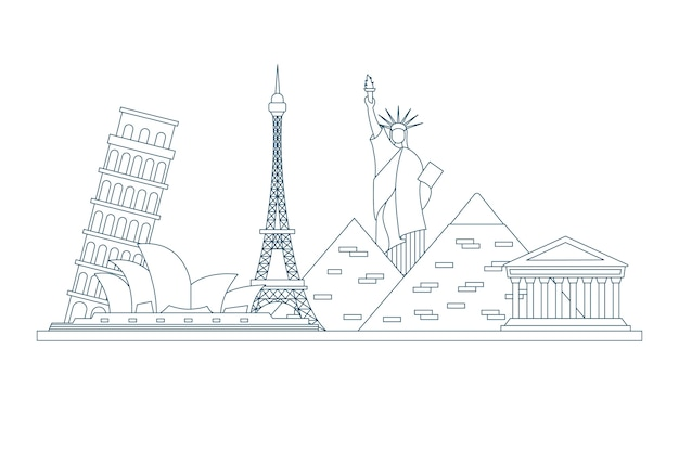 Outline landmarks skyline concept