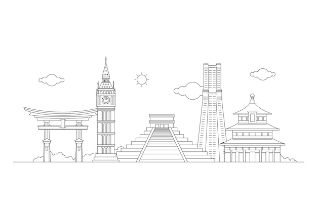 Outline landmarks skyline from asia to europe