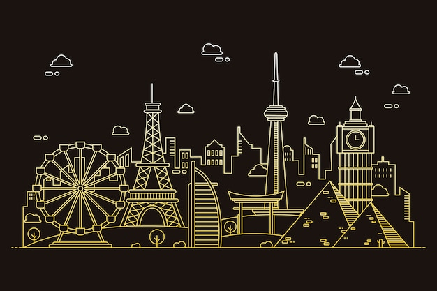 Outline landmarks skyline in gradient sepia tones