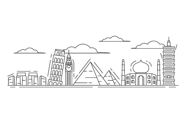 Outline landmarks skyline sketch style