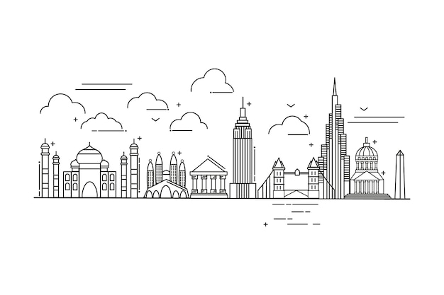 Outline landmarks skyline tourism